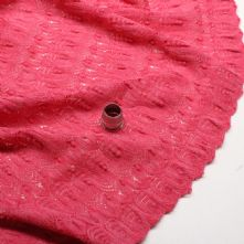 Raspberry Knit Lace Fabric Remnant 0.90m